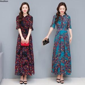 Houthion Women's Oversized Dresses Chiffon Plus Size Loose Dress Summer New Fashion Bosmia O-neck Print A-LINE Knee-Length