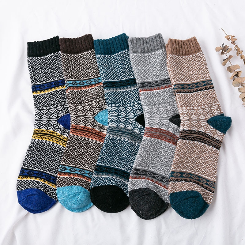 5Pairs/Lot Mens Soft Socks Casual Autumn Winter Thick Wool Retro Colorful Cozy Warm Ethnic Style Men Socks