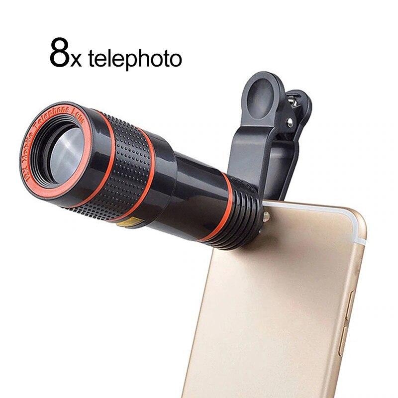 Universal 8x/12x lente do telefone zoom óptico hd telefoto câmera clip-on kit de lente macro para smartphone telescópio foco len