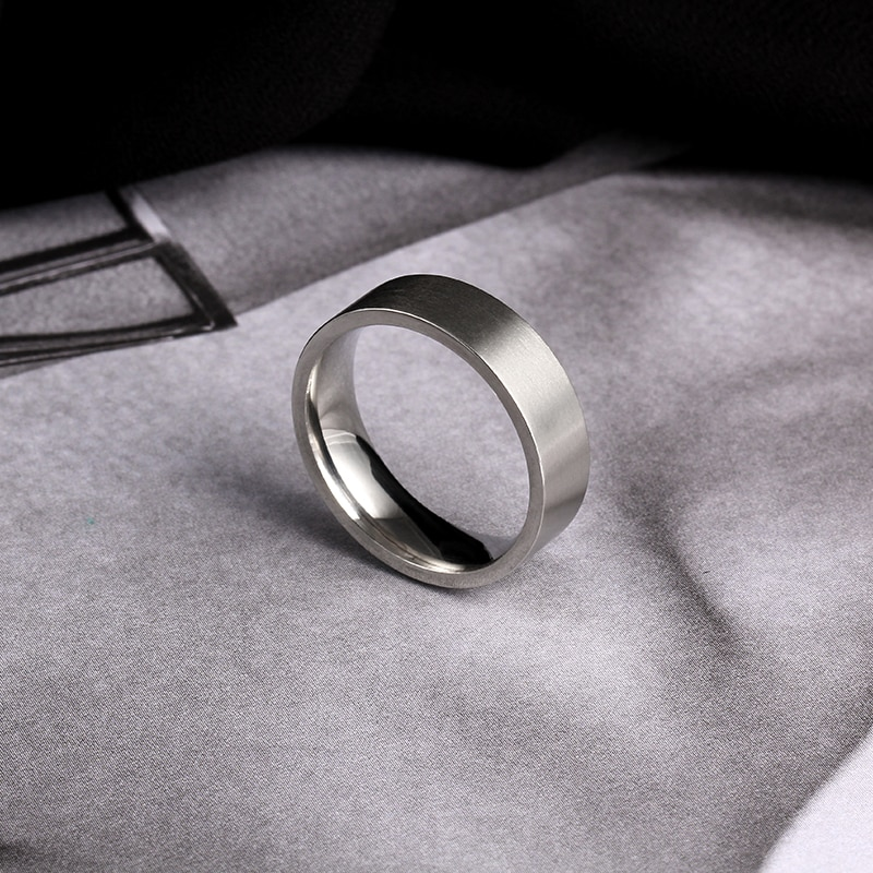 MOREDEAR 6MM Silver Titanium Band Brushed Wedding Stainless Steel Solid Ring Men Women