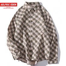 Aelfric Eden Vintage Plaid Men Gothic Shirts 2019 Autumn Fashion Harajuku Tops Streetwear Casual Cotton Male Long Sleeve Outwear