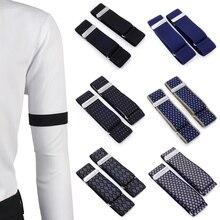 Mens Sleeve Garters Holders Stripe/Plaid Arm Bands Sleeve Shirt Groom Elastic Garter Metal Bracelet For Ladies Non-Slip Straps