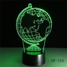 3D земной шар светодиодный 7 цветов, меняющий светильник, прикроватный столик, ночник для сна, новинка, детский праздничный подарок, классиче...