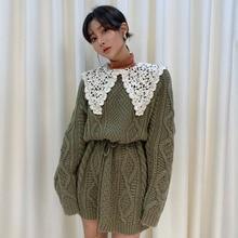Korean chic small crowd round neck hemp pattern drawstring waist short small knitted sweater dress w