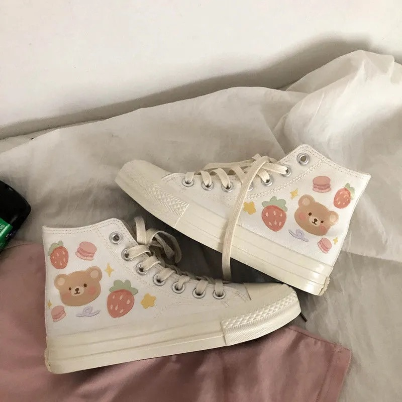 Designer Women Canvas Sneakers Embroidery Bear Pink Shoes High Top Thick Heels Sneakers Casual Runni