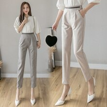 2021 Spring and Autumn Pants Women's Loose Slimming Cotton and Linen Cropped Straight Suit Pants Ski