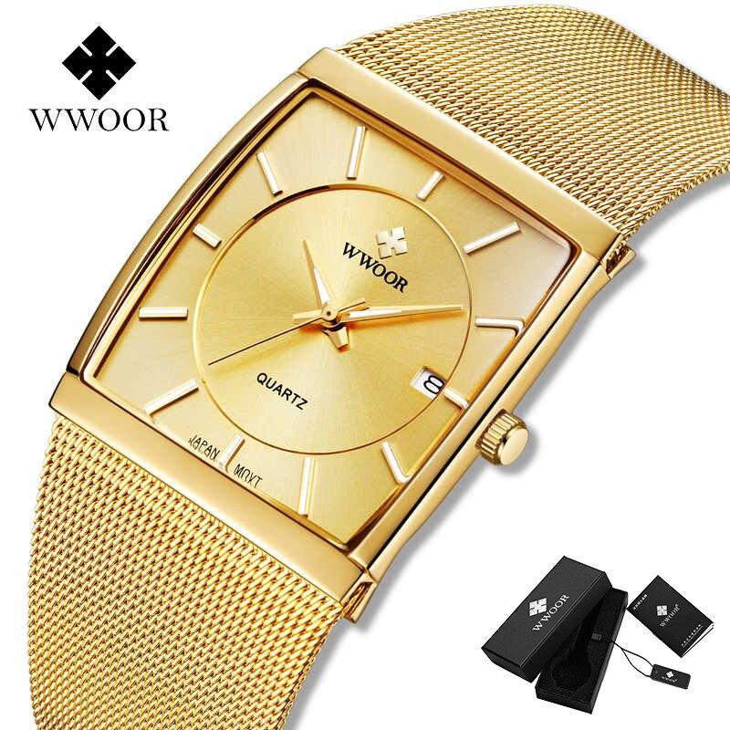 WWOOR أفضل الفاخرة الذهب ساعة للرجال ساحة رقيقة جدا ساعات الرجال الكوارتز شبكة معدنية مقاوم للماء ساعة اليد صندوق Relogio Masculino