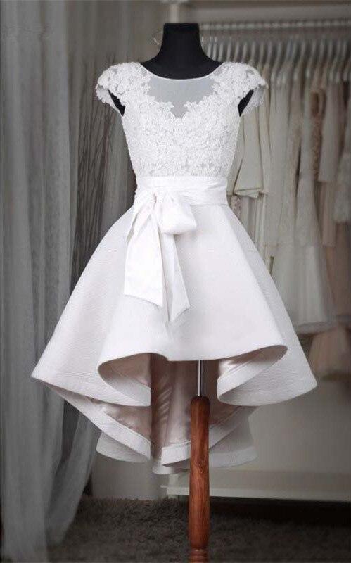 Review Simple Short Wedding Dresses short Sleeves High Neck handmade bow A-Line Mini Bride Dresses Ruffles Beach Civil Wedding Gowns