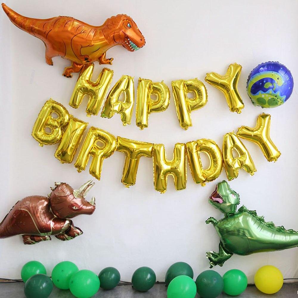 Украшение для вечерние в виде динозавра, тираннозавр, стегозавр, алюминиевый пленочный шар, украшение для вечеринки в честь Дня Рождения, ди...