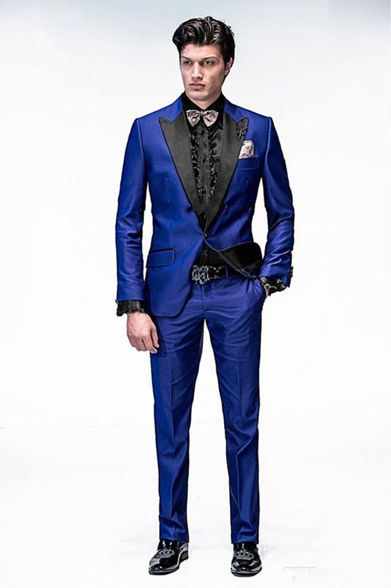 New Handsome One Button Royal Blue Groom Tuxedos Peak Lapel Groomsmen Men Wedding Tuxedos Dinner Prom Suits (Jacket+Pants)