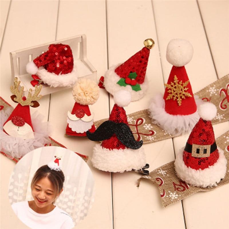 Navidad pelo Clip árbol de Navidad sombrero sombreros accesorio para el cabello para chica chico fiesta decoración chico s regalos