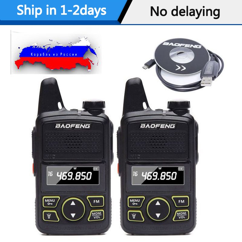2 uds $TERM impacto Baofeng BF-T1 portátil auricular Ptt MINI Walkie Talkie de mano bft1 Hotel civil Radio Comunicador jamón transceptor HF