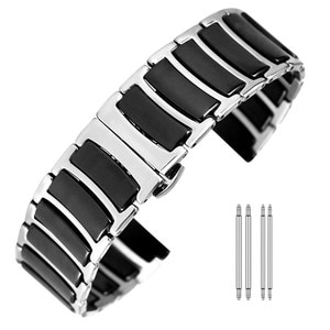 Black/White Ceramics Stainless Steel Watch Bands 20/22 mm Butterfly Buckle Luxury HQ Metal Wristband Replacement Straps