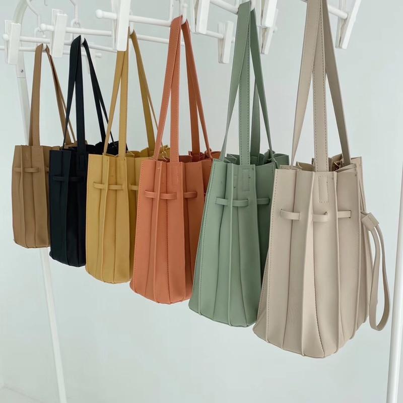 Women's Ba Solid Color Female Pleated Bag Women Drawstring Small Handbags Organ Designer Chic Bag Sets Japan Ladies Shoulder Bag