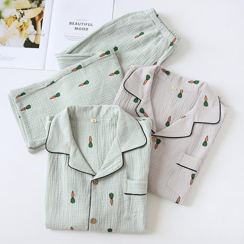 Autumn Men Pajamas Set 2pcs Shirt&pant Casual Loose Sleepwear Nightwear Soft Cotton Gauze Bathrobe Sleep Set Print Home Clothes