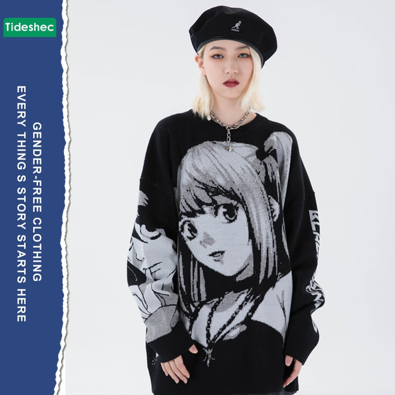 New Mens Hip Hop Japanese Retro Cartoon Sweater Streetwear Harajuku Anime Girl Knitted Sweater Vintage Autumn Cotton Sweater