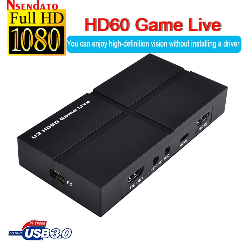 Ezcap263 1080P 60 USB 3.0 HD AV بطاقة التقاط الفيديو محرك أقراص التوصيل والتشغيل المجاني Full HD PC تسجيل الألعاب البث المباشر