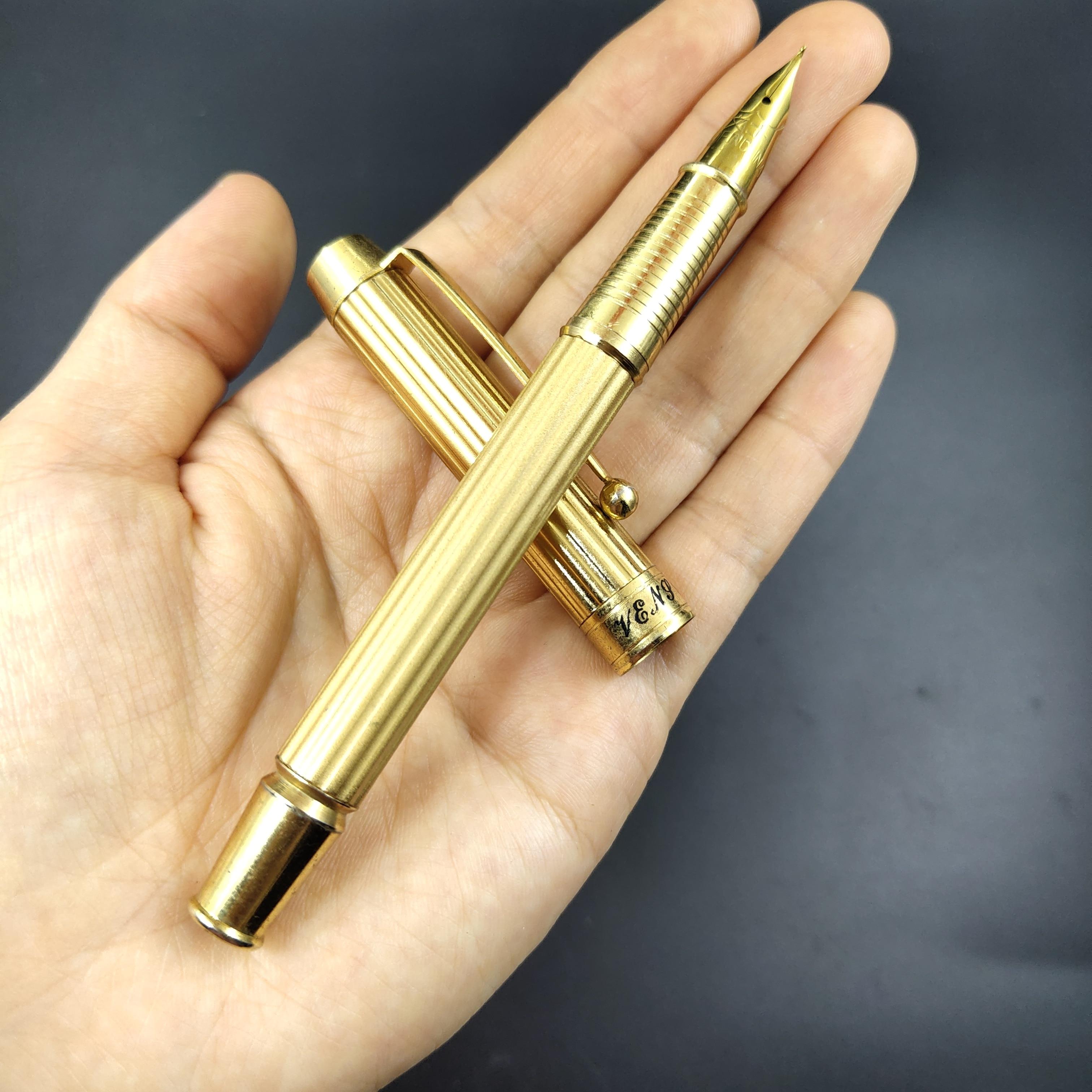 WS Fountain Pen Golden Color Ink Pen Fude Nib Aerometric Filler Stationery Office School Supplies Writing Gift