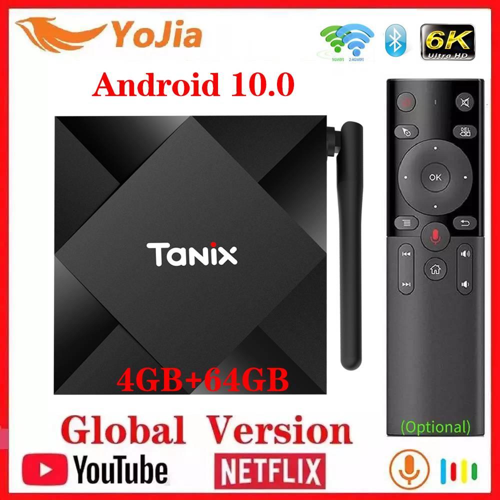 Nuevo Android 10,0 TV caja Max 4GB RAM 64GB ROM Allwinner H616 Tanix TX6S Android 10 QuadCore 6K Dual Wifi TX6 reproductor de medios Youtube