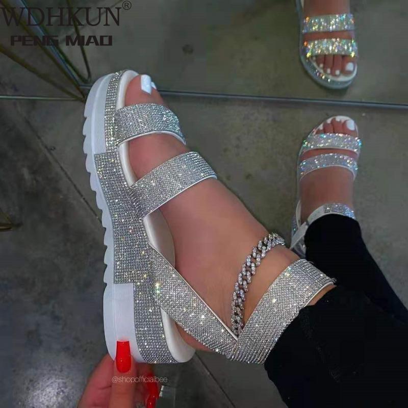 Sandalias de verano con diamantes de imitación para Mujer, zapatillas de punta abierta para exteriores, talla grande 36-43, 2021