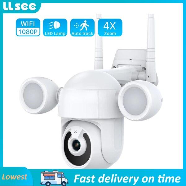 LLSEE 1080p واي فاي كاميرا متحركة أضواء خارجية مصباح إضاءة حديقة اللون كاميرا شبكة مراقبة للرؤية الليلية 2mp ptz واي فاي أمن الوطن CCTV