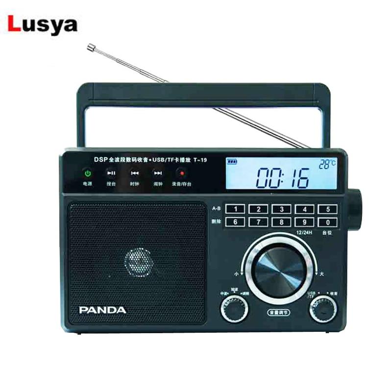 Panda T-19 banda completa rádio fm am sw procurar automaticamente a plataforma interruptor do temporizador usb u disco tf cartão mp3 player t1276