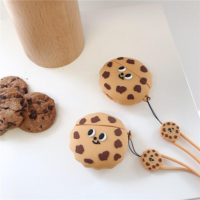 3d cookies auscultadores casos com anel anti-perdido cordão para apple airpods pro 2/3 bonito silicone fone de ouvido capa de proteção