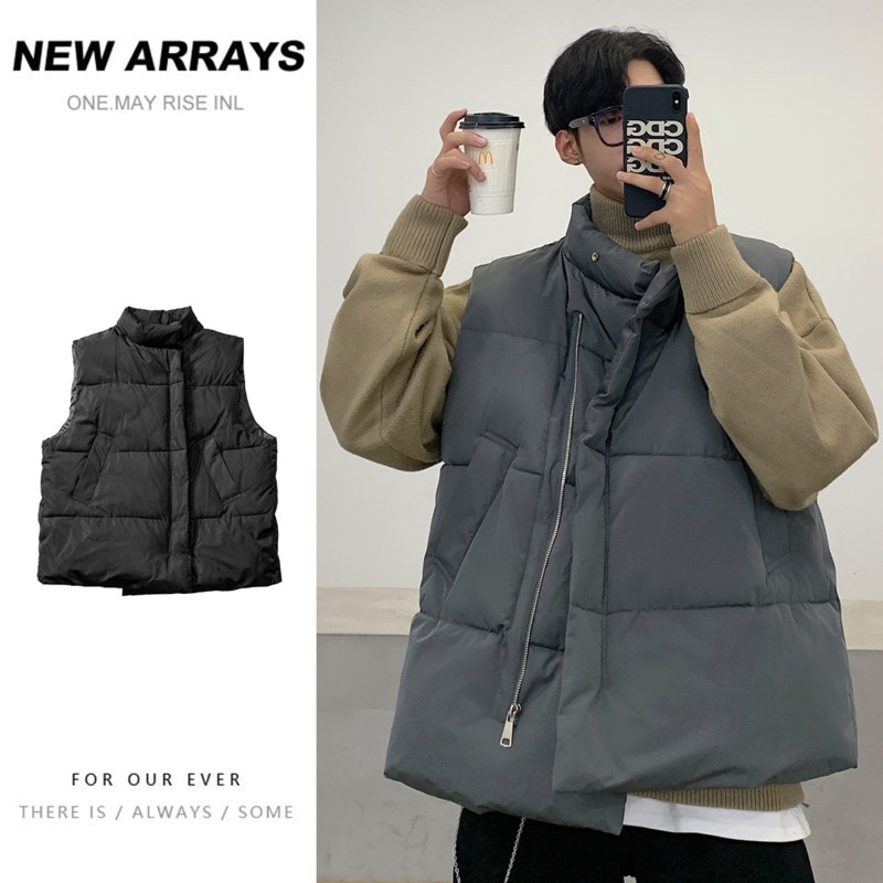 Winter Thick Down Vest Men's Warm Fashion Casual Stand-up Collar Vest Coat Men Streetwear Loose Korean Vest Jacket Mens M-3XL winter new style ladies stand up collar lightweight down vest casual style down vest women s big pocket fashion solid color vest