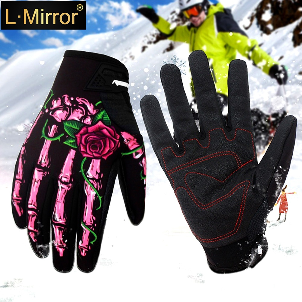 L.Mirror 1Pair Winter Outdoor Gloves Bike Riding Motorcycle Skull Windproof Full Finger Ghost Claws