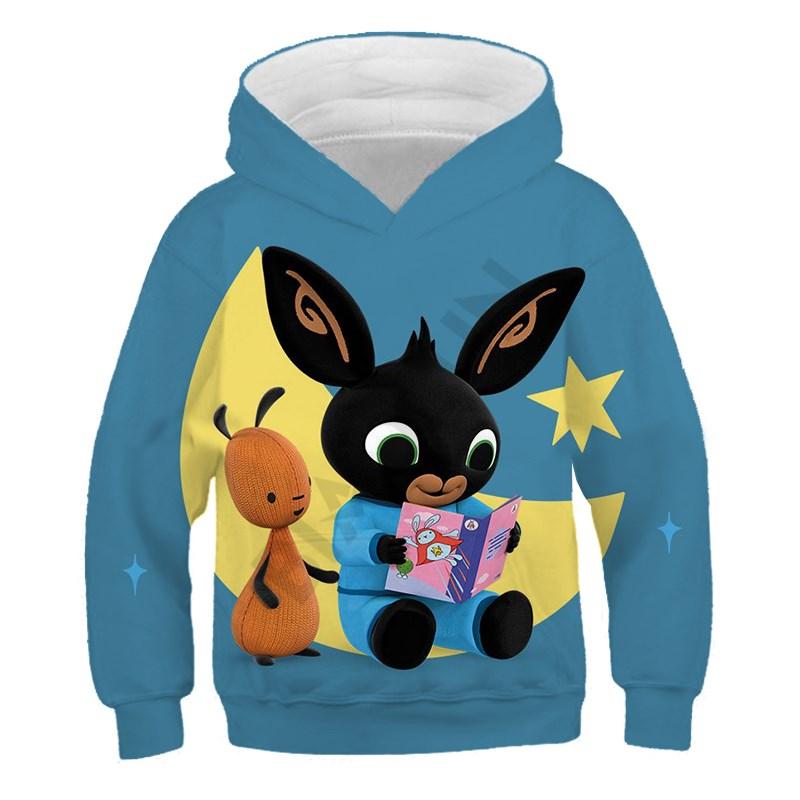 أنيق البلوز عادية Kawaii الأرنب هوديي الأطفال هوديس ثلاثية الأبعاد Bing الأرنب المتضخم قبعة طوق الملابس الفتيان الفتيات معطف الطفل