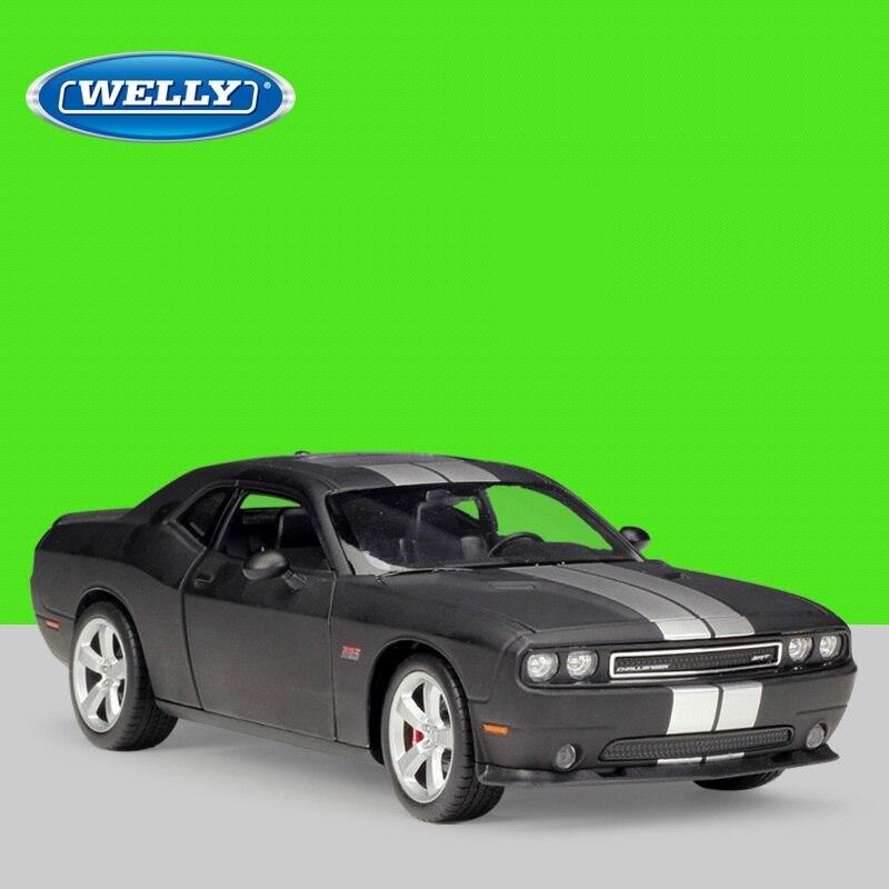 Welly 1:24 Diecast 2012 Challenger SRT coches deportivos negros vehículo de alta simulación de aleación de Metal modelo de coche