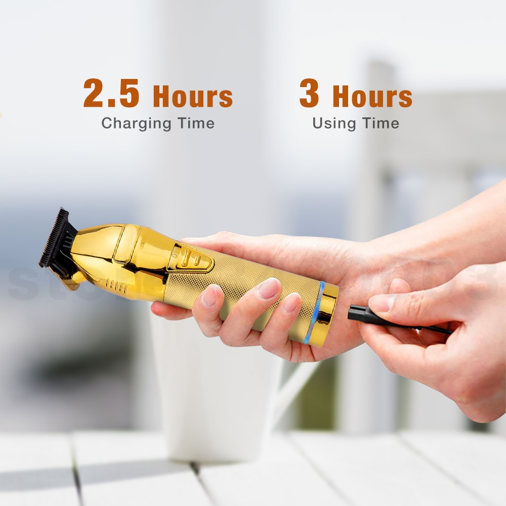 Professional Hair Trimmer Gold Electric Trimmer For Men Cordless Rechargeable Shaver Barber Hair Cutting Machine T Hair Styling enlarge