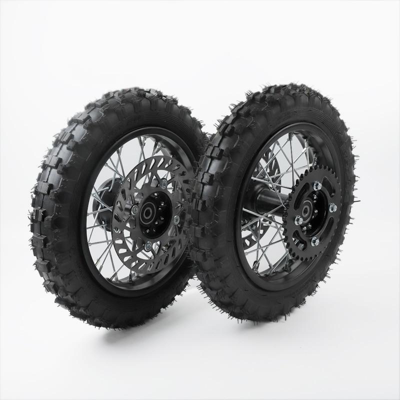 خلفي 10 بوصة أسود فولاذ عجلة 2.50-10 إطار 28 تكلم حافة مكبح قرصي عجلة مناسب ل CRF50 على الطرق الوعرة دراجة نارية