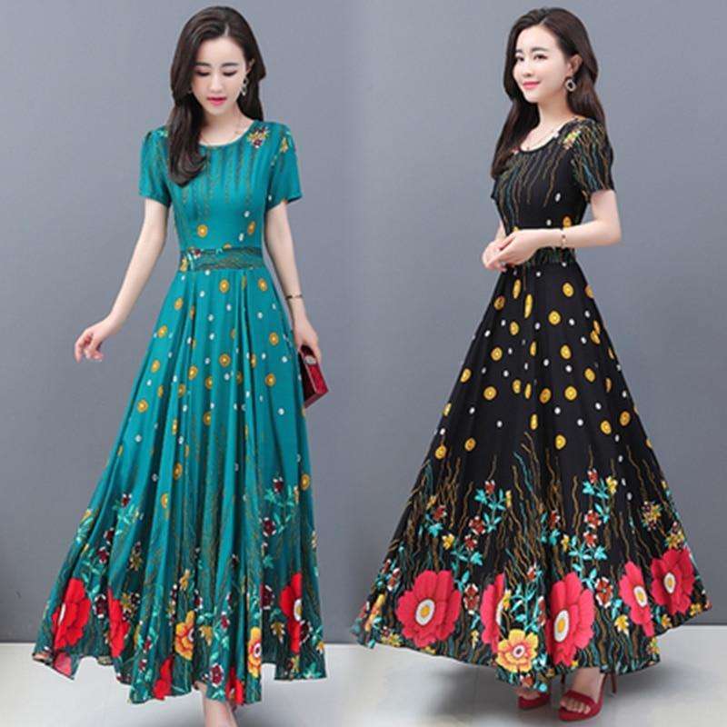 Maxi vestido Swing grande para mujer, Vestido largo de seda de algodón con flores de posicionamiento Vintage de verano, vestido de fiesta informal elegante para mujer de talla grande