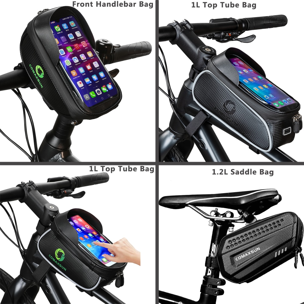 COMAXSUN Bicycle Bag Waterproof Frame Front Top Tube Cycling Bag Reflective 6.5in Phone Case Touchscreen Bag MTB Bike Accessorie