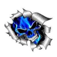 fuzhen boutique decals exterior accessories funny car stickers decor skull electric blue flames creative motorcycle decal
