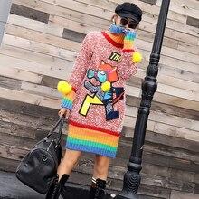 Herbst und winter wilde hohe kragen pullover weibliche lange abschnitt regenbogen cartoon brief patch knit bodenbildung shirt flut