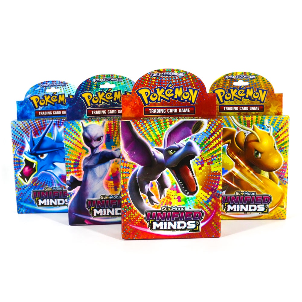Takara Tomy Pokemon Trading Card Game SUN&MOON UNIFIED MINDS Flash Cards 48pcs Battle Toys Shining Box for Kids Gifts недорого