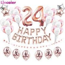 38 pièces numéro 24 ballons danniversaire 24th joyeux anniversaire 24 ans décorations de fête homme femme 42th 42 ans fournitures danniversaire