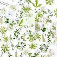 46pcs gardenia flower stickers set 44mm mini jasmine sticker for diy decoration seal adhesive album diy tools kids gift f384