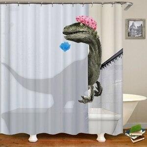 Lovely Bathing Dinosaur Print Shower Curtain Waterproof Bathroom Curtain Bathroom Shower Accessories Decor Bath Curtain 180X200C