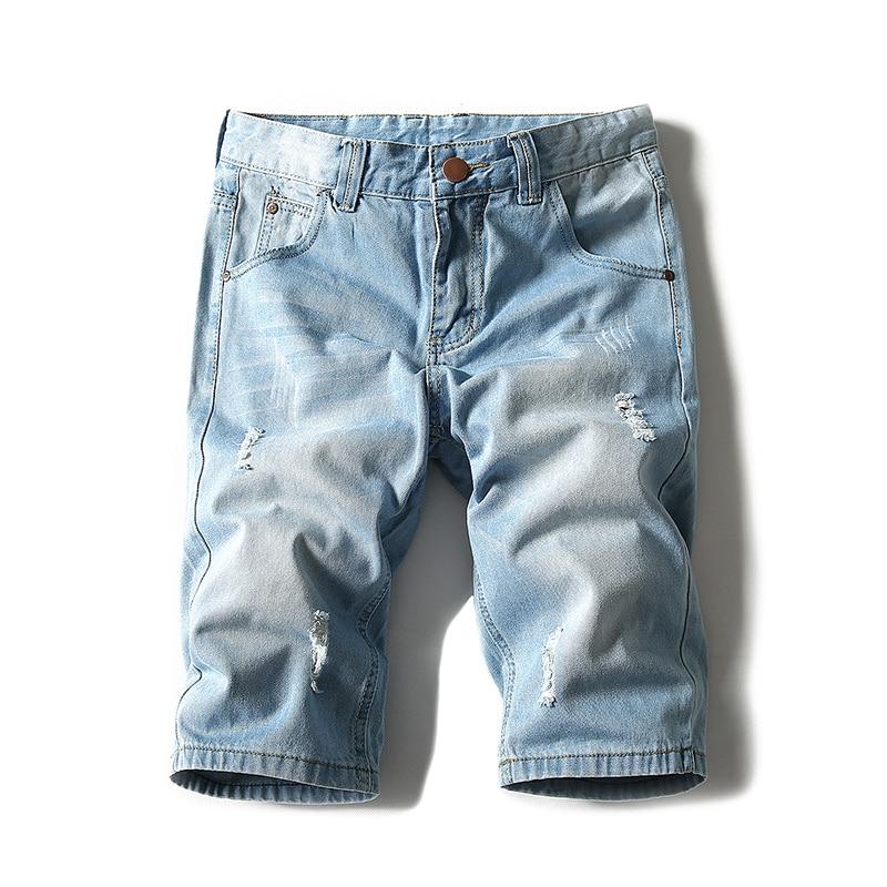 Мужские однотонные джинсовые шорты, летние модные мужские тонкие джинсовые шорты большого размера, удобные свободные джинсовые шорты