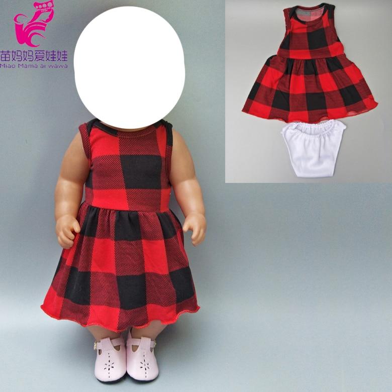 """Se adapta a 40cm vestido babydoll rojo y negro muñeca de celosía prendas de interior o exterior para 18 """"Accesorios para muñeca bebé juguetes ropa"""