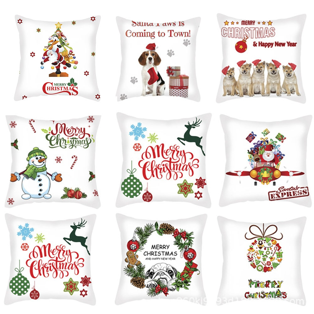 45x45cm Christmas Pillow Cover Home Cushion Cover  Sofa Cover Christmas Pillowcase Pillow Covers Decorative 2019 christmas throw pillow covers santa clause 0utdoor pillow decorations for home sofa bed pillowcase xmas party kids gift