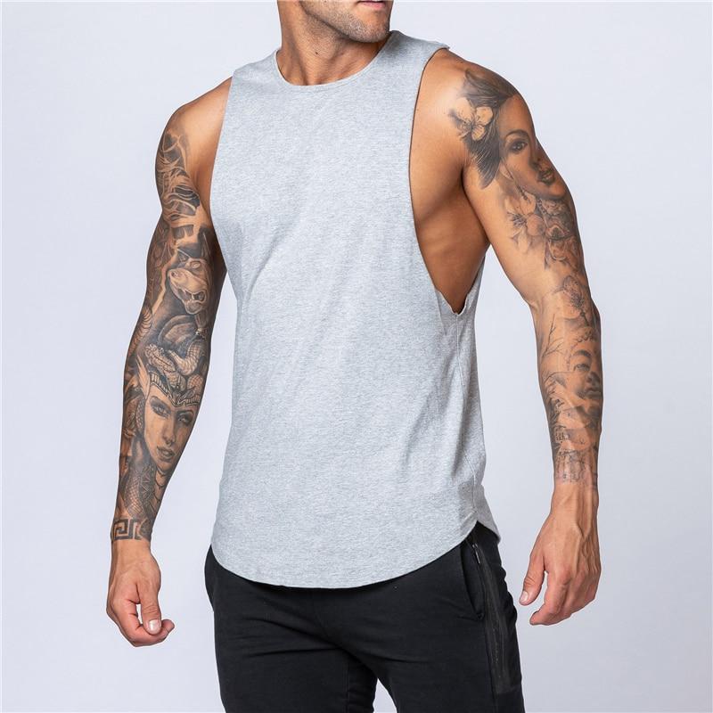 Camisa do tanque dos homens camisa gym stringer tanque superior roupas de fitness algodão sem mangas colete homem liso canotte musculação tanktop