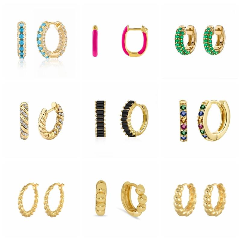 7-мм-925-стерлингового-серебра-Радуга-цирконием-серьги-кольца-для-женщин-бирюзовый-светло-голубой-черный-зеленый-белый-синий-серьги-huggie