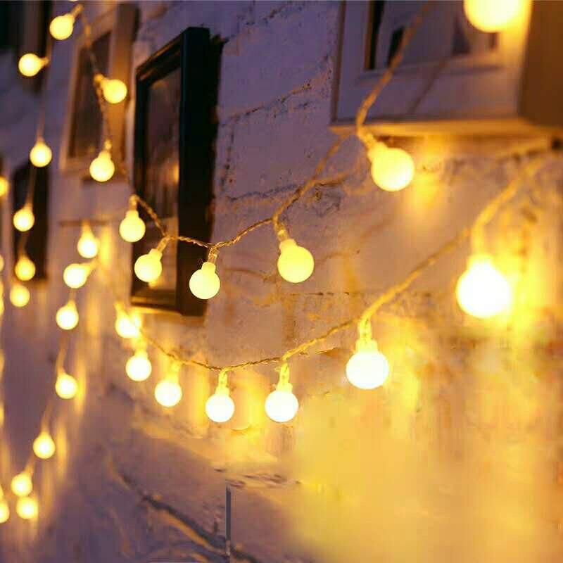 3M 6M 10M guirnalda de hadas tira de luces LED en forma de bola alimentado por batería lámpara impermeable para Navidad boda hogar Decoración interior