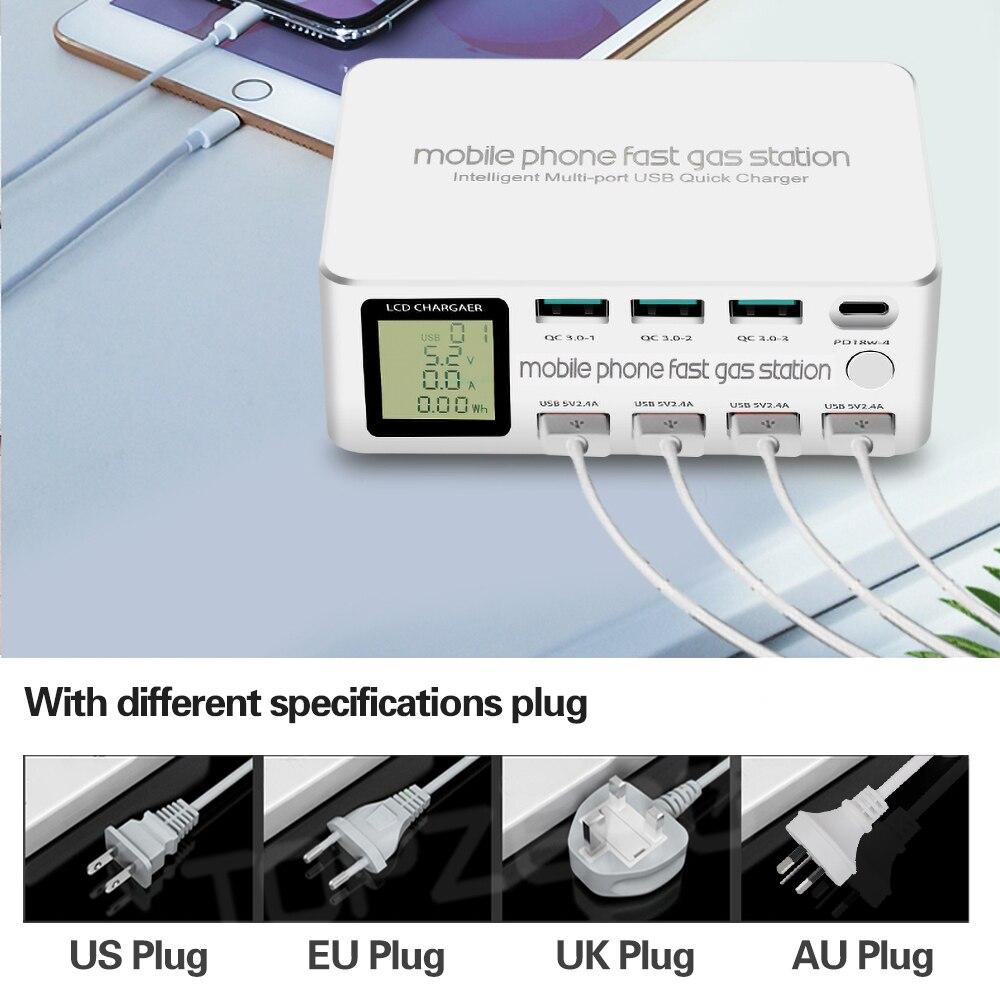 100 واط 8 منافذ LCD عرض سريع تهمة 3.0 USB شاحن محول محور نوع C PD سريع شاحن الهاتف آيفون هواوي سامسونج شاومي