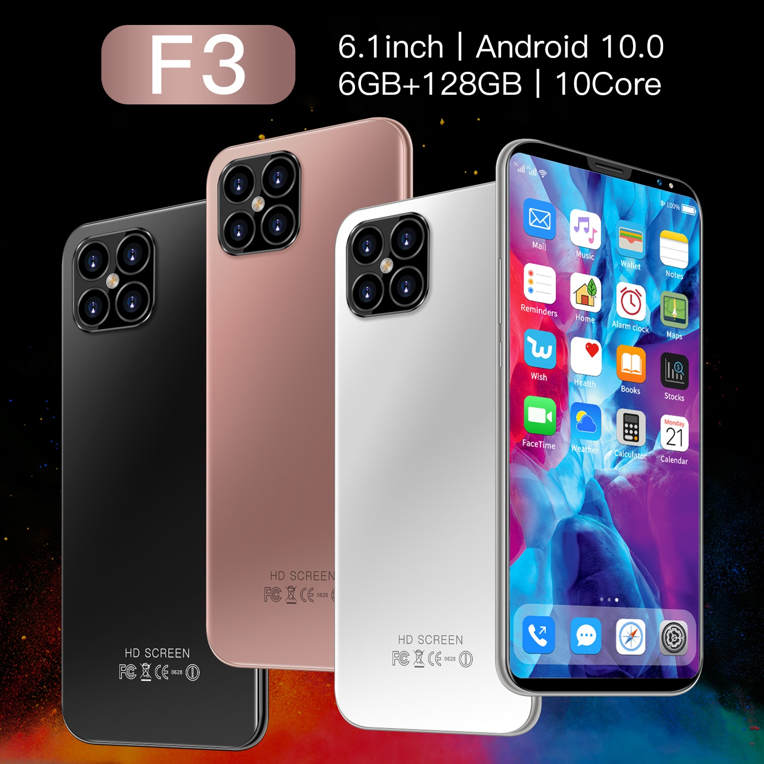 Global Version F3 5G Smartphone 6GB 128GB 6.1 inch 13MP+24MP 4Gnetwork Unlocked Mobile Android Phone