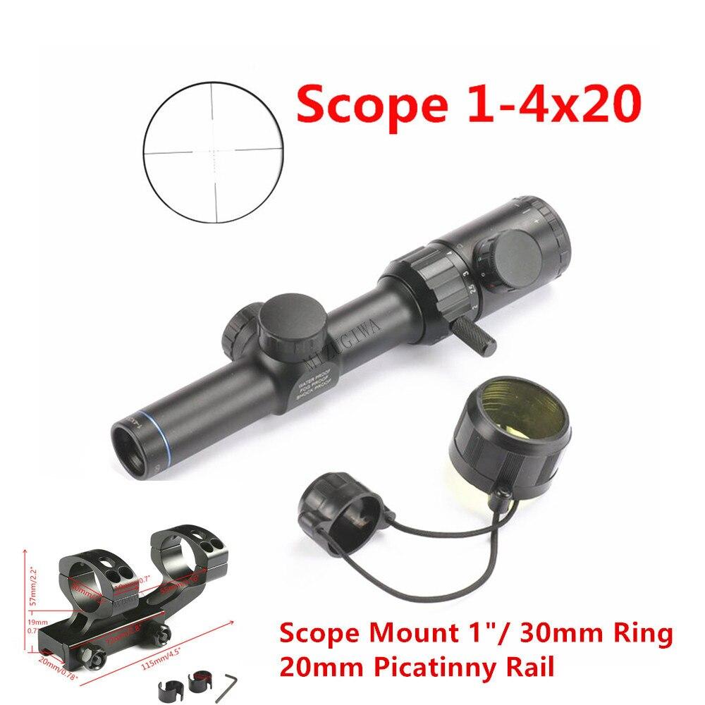 """Táctica alcance 1-4x20 Rifle rojo verde iluminación de ahorro retícula BDC vista alcance montaje 1 """"/ 30mm anillo 20mm riel Picatinny"""